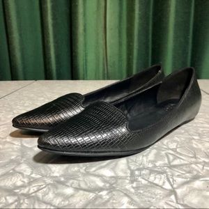 Also Black Textured Leather Pointed Toe Flats